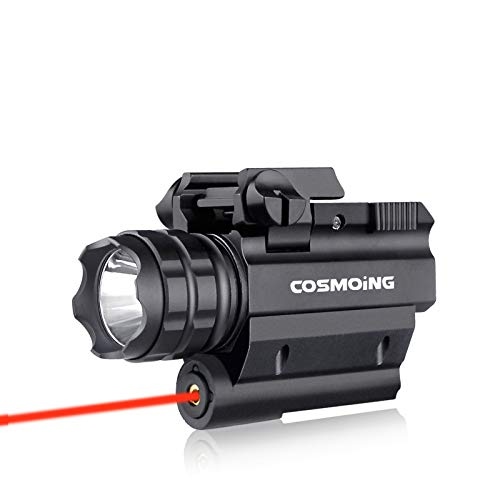 COSMOING Rail Mounted Pistol Red Laser Light Combo (Laser Sight Combo) &...