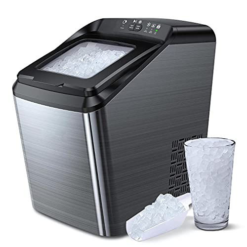 Nugget Ice Maker for Countertop, Sonic Ice Maker Machine, Makes 26lb Pebble...