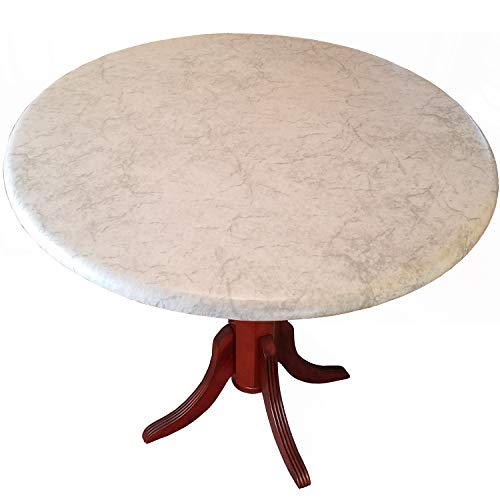 Table Cloth Round 36' to 48' Elastic Edge Fitted Vinyl Table Cover Classic...