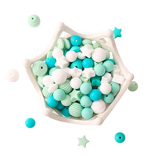 Baby Silicone Beads 100pcs BPA Free Beads Blue Series DIY Jewelry Chewable...