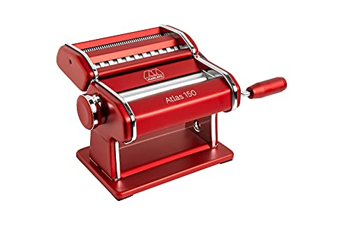 MARCATO Atlas 150 Machine, Made in Italy, Red, Includes Pasta Cutter, Hand...