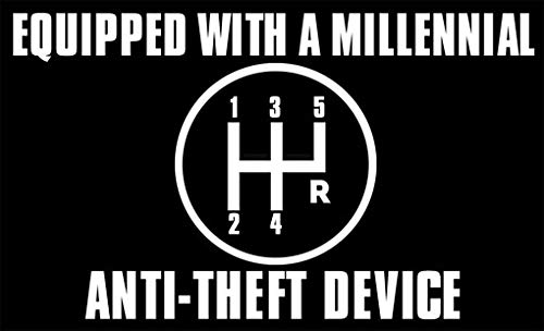 American Vinyl Equipped with a Millennial Anti Theft Device Bumper Sticker...