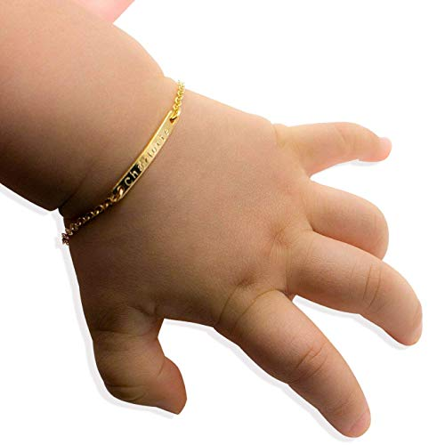 Baby Name Bar id Bracelet Baby Gift Personalized gift 16k Gold Plated...