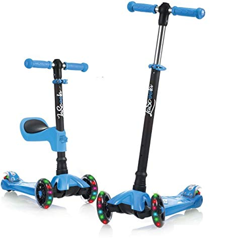 Lascoota Kick Scooter for Kids - Adjustable Height w/ Extra-Wide Deck PU...