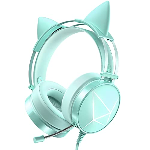 WodnHoak Green Gaming Headset for PC, PS4 Headset with Detachable Cat Ear...