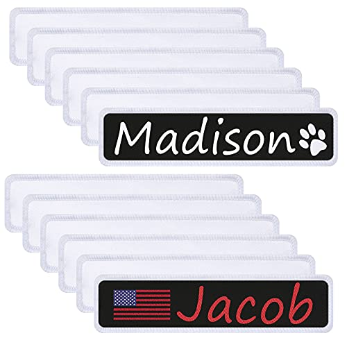 12 Pieces Sublimation Name Patches White Blank Iron on/Sew on Personalized...