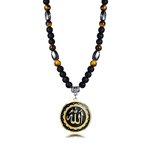 Allah Medallion Necklace, Stainless Steel Islamic Jewelry,Arabic...