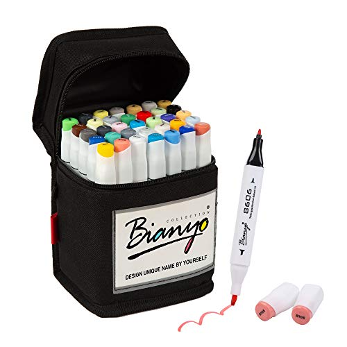 Bianyo 36 Colors Dual Tips Art Markers Alcohol Based Highlighter Pens with...