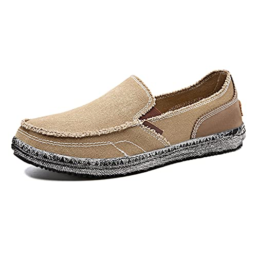 JAMONWU Mens Canvas Shoes Slip on Deck Shoes Boat Shoes Non Slip Casual...