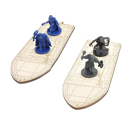 Wooden Row Boat 2PCS Laser Cut Hold Eight 1' Miniatures(Not Included)...
