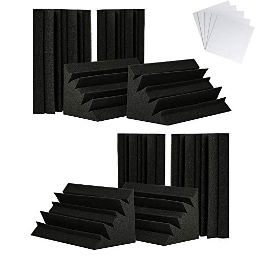 TRUE NORTH Bass Traps w/Adhesive 8 Pack (12'x6'x6') - Acoustic Bass Trap...
