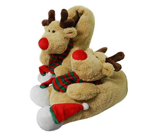 Onmygogo Fuzzy Indoor Animal Christmas Moose Slippers for Men and Women (US...