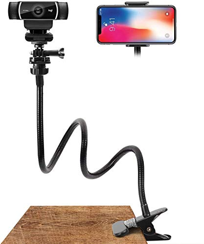 Webcam Stand and Phone Holder - Amada 25 inch Flexible Arm 360 Desk or Bed...