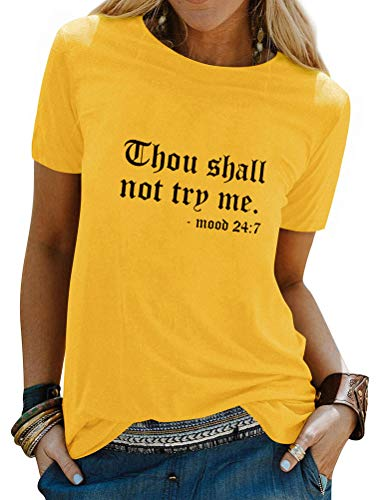 Nlife Thou Shall Not Try Me Oversized Sweatershirt Graphic Tee Shirt for...