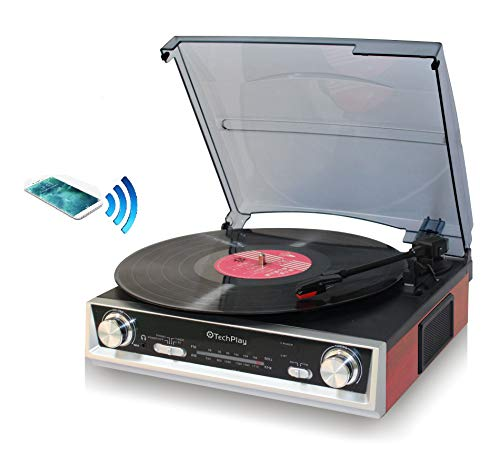 TechPlay ODC107BT, Bluetooth Connection, 3-Speed Turntable FM Radio