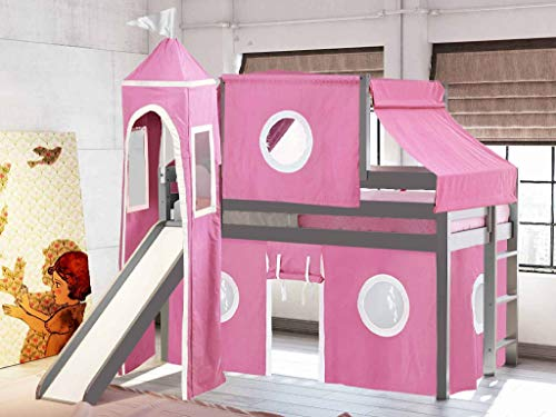 JACKPOT! Princess Low Loft Bed with Slide Pink and White Tent and Tower,...