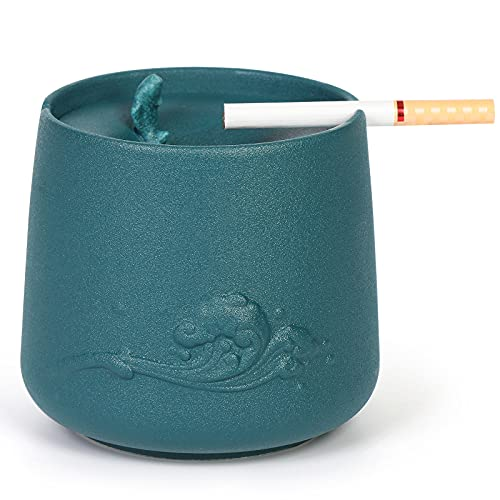 Outdoor Ashtrays for Cigarettes Ash tray with Lid FriyGardcn Ceramic...