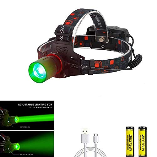 BESTSUN Hunting Headlamp Zoomable Brightest Green CREE XML-T6 LED Night...