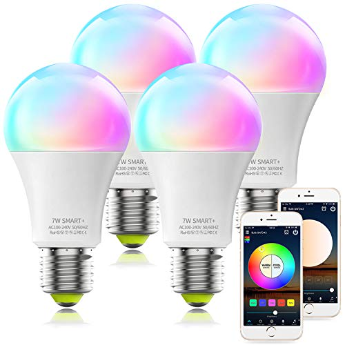 Alexa Compatible Smart Light Bulb, A19 RGBCW Multicolor & Dimmable White UL...