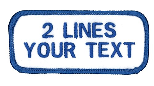 2 Line Name Patch Uniform-Work Shirt Personalized Embroidered White-Blue...