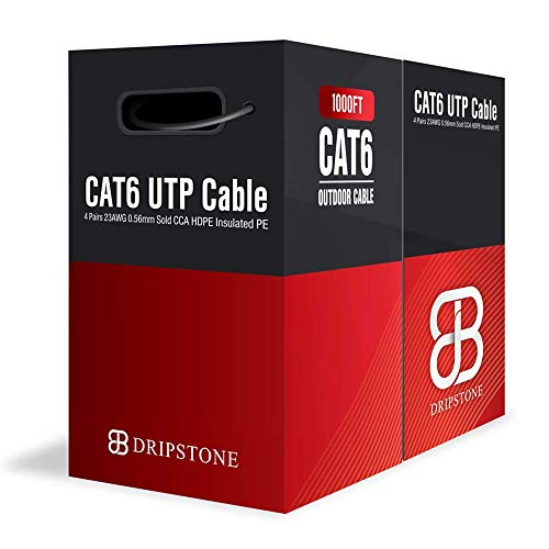 Dripstone - DS611 1000ft CAT6 Outdoor Direct Burial Solid Cable 23AWG...