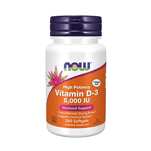Now Foods Supplements Vitamin D3 5000 IU High Potency Structural Support...