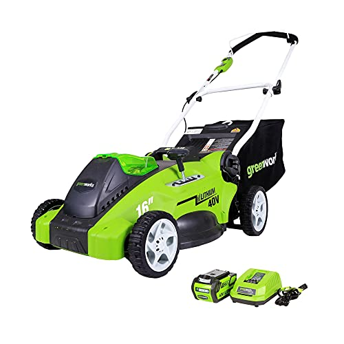 Greenworks 40V Push Lawn Mower, 16-Inch Electric Lawn Mower with 4.0Ah...