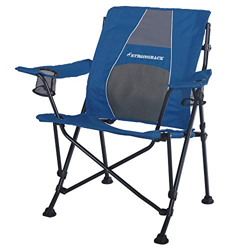 STRONGBACK Guru Folding Camp Chair with Lumbar Support, Navy/Grey, 2.0 (NEW...