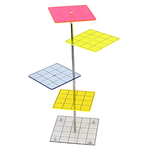 3D Combat Risers Set Colored Acrylic Connected by Metal Pillars Flying...