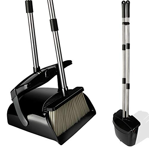 Broom and Dustpan Set with Lid, Stainless Steel Long Handle and Light...