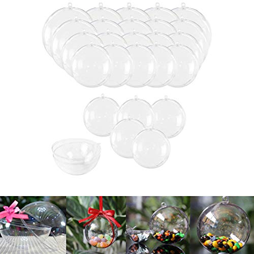 25 Sets Clear Fillable Ornaments Ball in 5 Different Size,DIY Plastic...