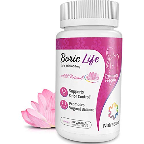 NutraBlast Boric Acid Vaginal Suppositories - 30 Count, 600mg - 100% Pure...
