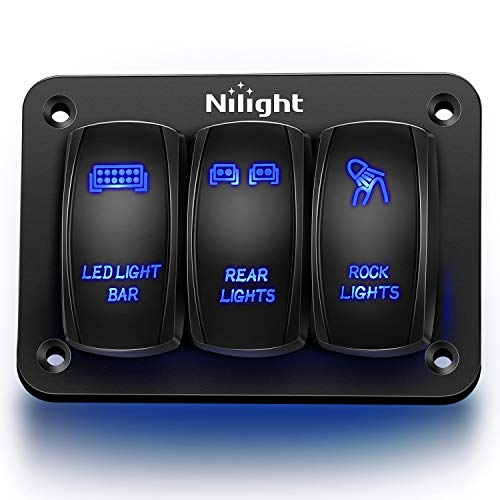 Nilight - 90105C 3 Gang Aluminum Rocker Switch Panel 5 Pin ON/Off Pre-Wired...