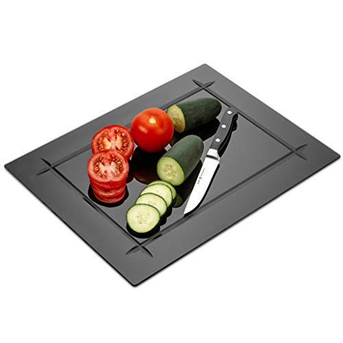 Tempered Black Glass Cutting Board with Grove Around the board 12 x 16 Inch...
