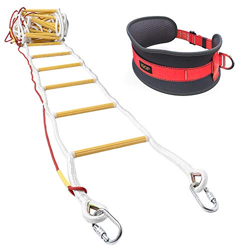 ISOP Emergency Fire Escape Rope Ladder 3 - 4 Story Homes 32 ft Flame...