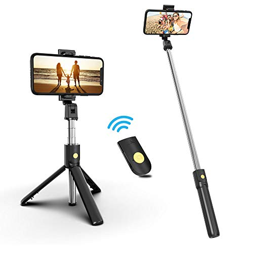 Selfie Stick Phone Tripod with Wireless Remote, 3 in 1 Extendable Phone...