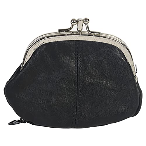 Coin Purse Double Frame with Zipper Pocket (Black)