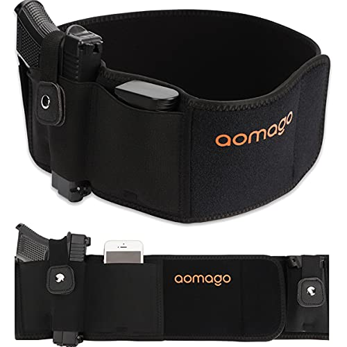 Aomago Belly Band Holsters for Conceal Carry with Extra Mag Pouch-Small...