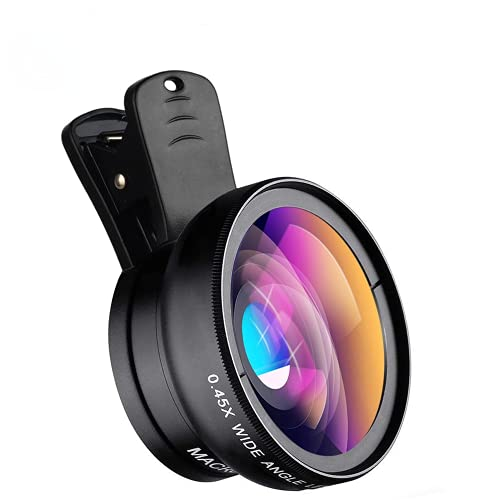 2021 New HD Cell Phone Camera Lens 2 in 1 Clip-on Lens Kit 0.45X Super Wide...