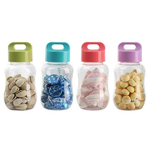 UPSTYLE 4-Piece 6oz Kids Small Water Bottle with Cap Mini Reusable Plastic...