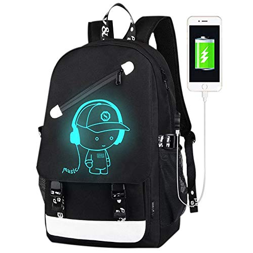 FLYMEI Anime Luminous Backpack for Boys, 15.6'' Laptop Backpack with USB...