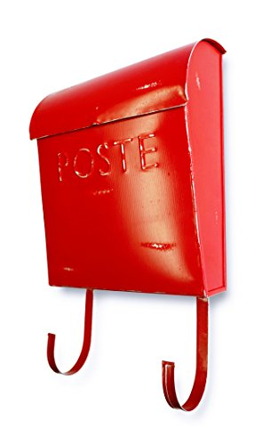 NACH TH-10042 French Euro Rustic Mailbox - Wall Mounted Post Box, Red, 12 x...