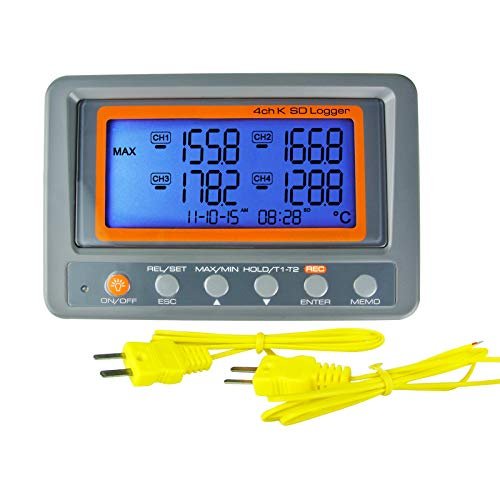 Thermometer Thermocouple K Type 4-Channel Multi Channel SD Card Data Logger...