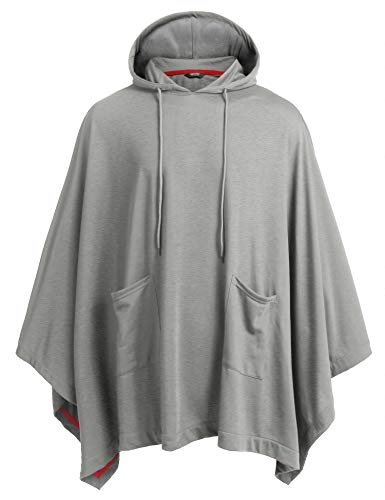 Coofandy Unisex Casual Hooded Cloak Poncho Cape Coat with Pocket,Large,Grey