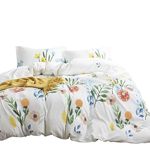 Wake In Cloud - Watercolor Comforter Set, Colorful Floral Leaves Flowers...
