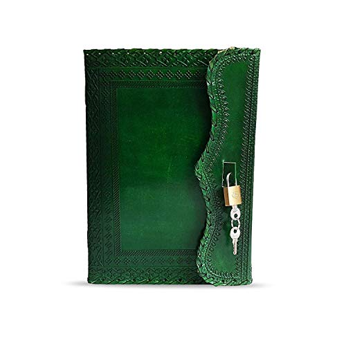 10' Leather Journal with lock Writing Pad Blank Notebook Handmade Notepad...