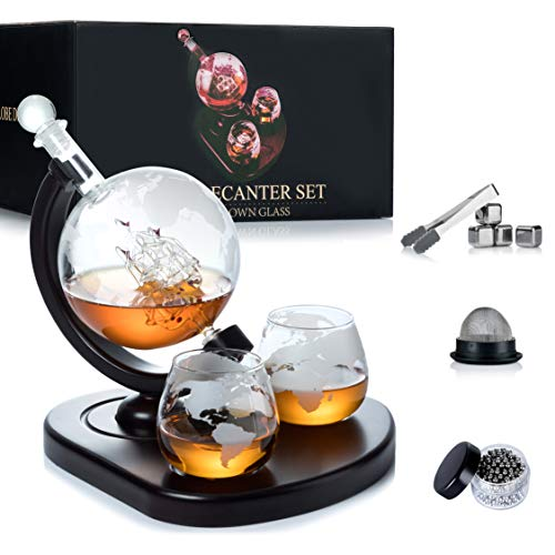 WEEBNG Whiskey Decanter Set,Globe Wine Decanter Set with 2 Glasses,Cleaning...