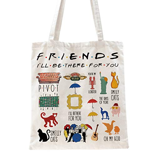 Ihopes Friends Quotes Reusable Tote Bag   Friends TV Show 100% Natural Tote...