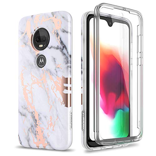 SURITCH Case for Moto G7 / Moto G7 Plus,[Built-in Screen Protector] Rose...