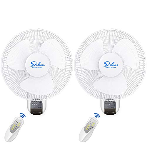 Simple Deluxe 16 Inch Digital Wall Mount Fan with Remote Control 3...